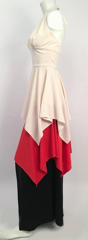 Beige 70s Red, White, Black Halter Maxi Dress For Sale