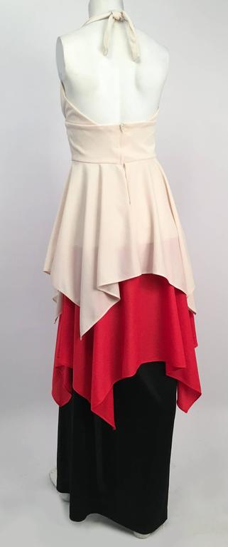70s Red, White, Black Halter Maxi Dress In Excellent Condition For Sale In San Francisco, CA