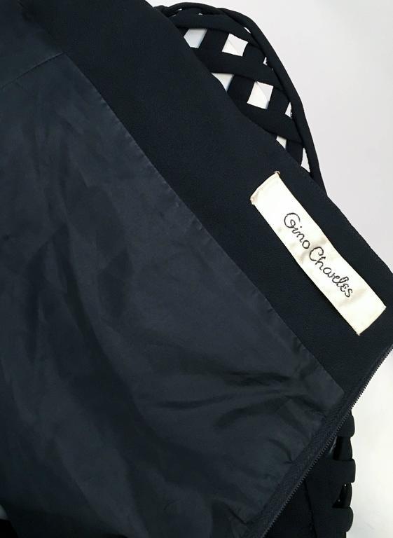 Women's 60s Gino Charles Black Crepe Lattice Detail Shift Dress For Sale