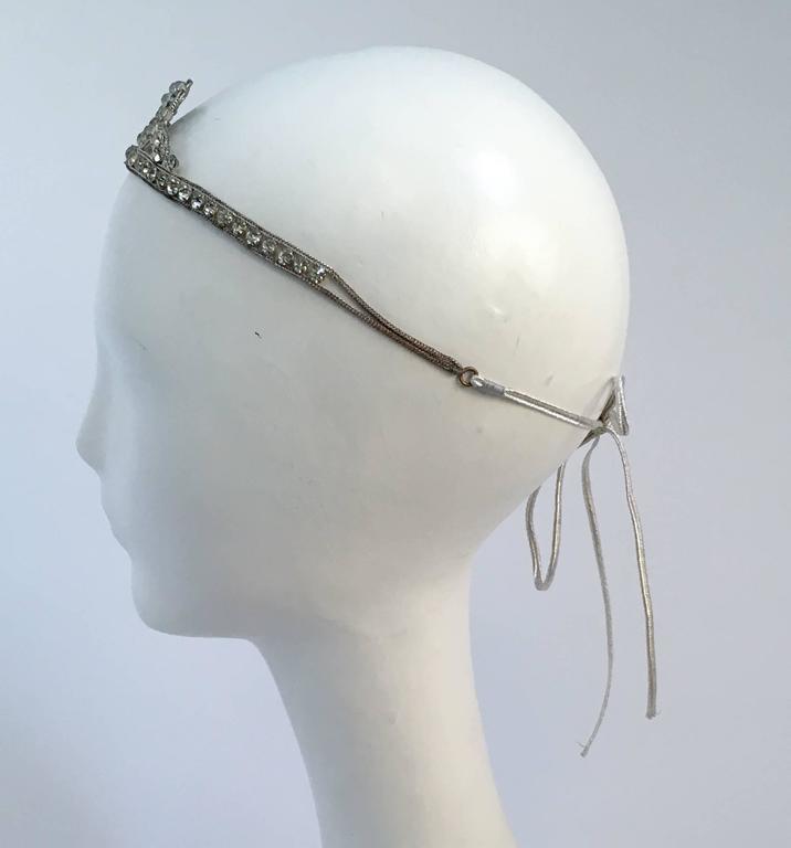 20s Silver Toned Brass Tiara Headband. Ties in back.