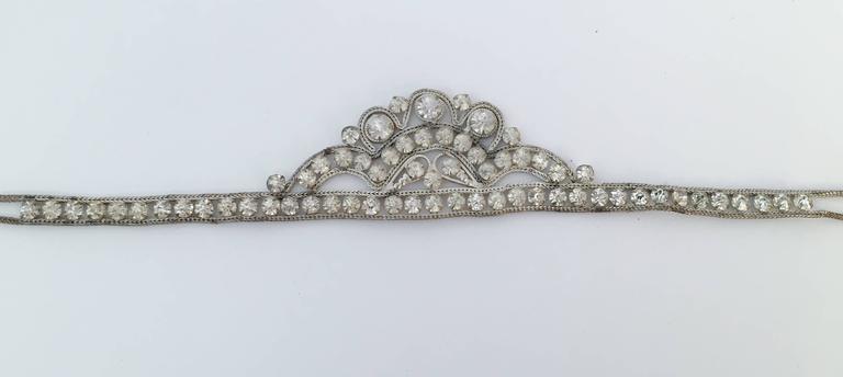 Women's 20s Silver Toned Brass Tiara Headband