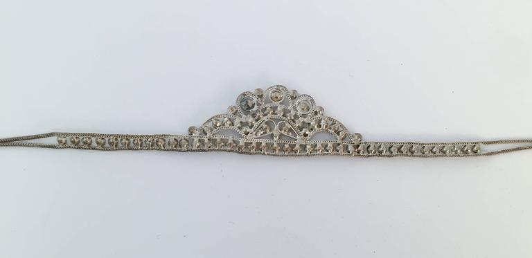 20s Silver Toned Brass Tiara Headband 1