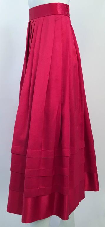80s Red Silk Flared Dress. Pin tuck hem detail w/ contrast satin hem. Fully lined.
