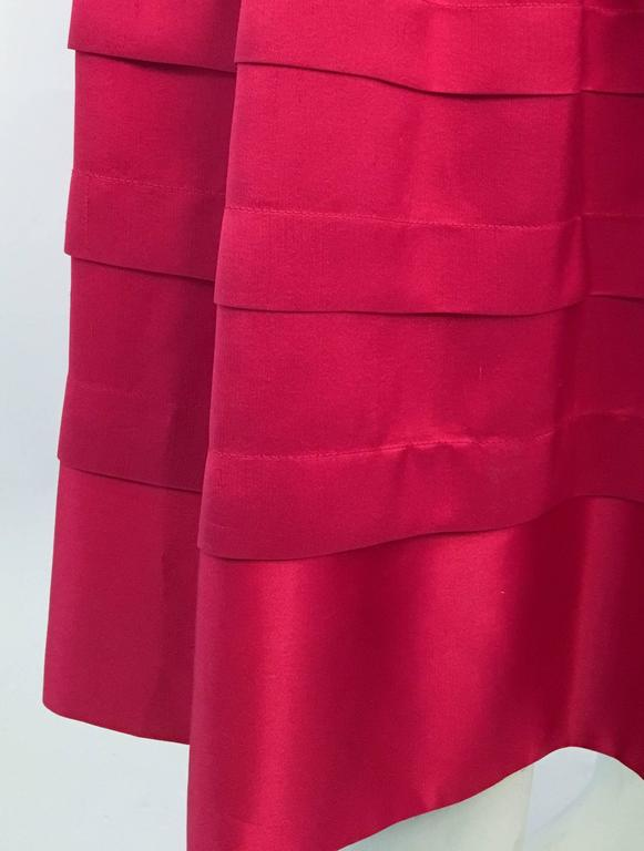 Women's 80s Red Silk Flared Dress For Sale
