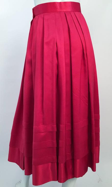 80s Red Silk Flared Dress In Excellent Condition For Sale In San Francisco, CA