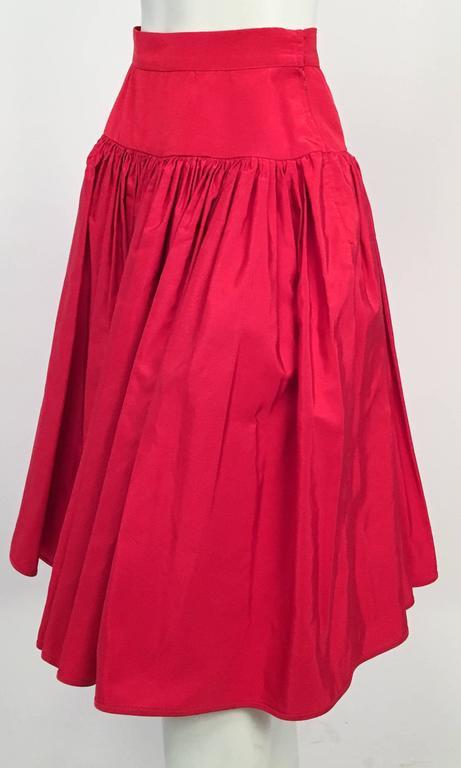 80s Valentino Night Red Ruffled Skirt. Built in tulle underskirt.