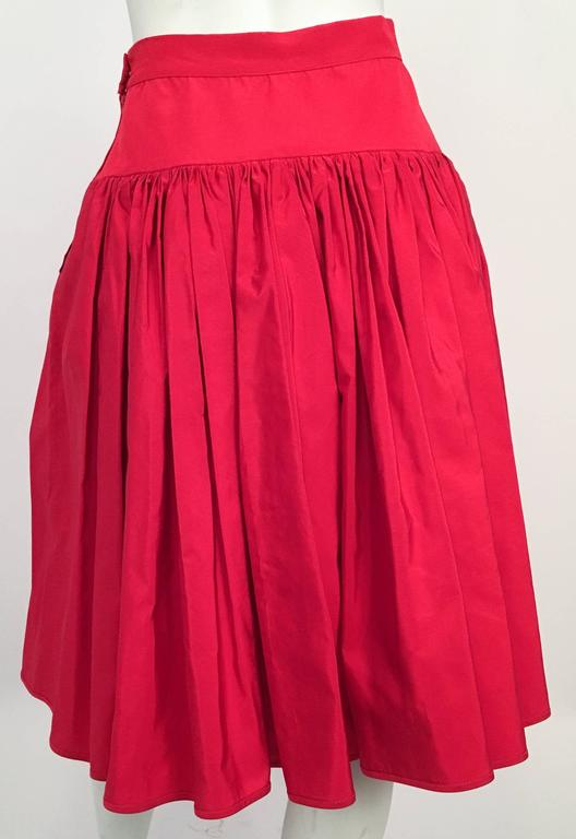 80s Valentino Night Red Ruffled Skirt In Excellent Condition For Sale In San Francisco, CA