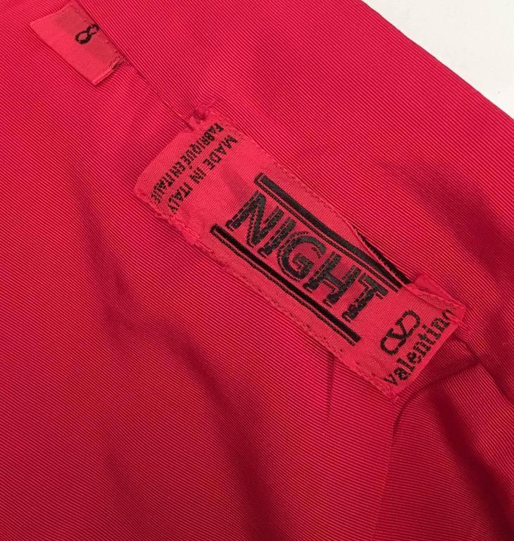 Women's 80s Valentino Night Red Ruffled Skirt For Sale