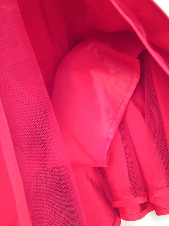 80s Valentino Night Red Ruffled Skirt For Sale 1