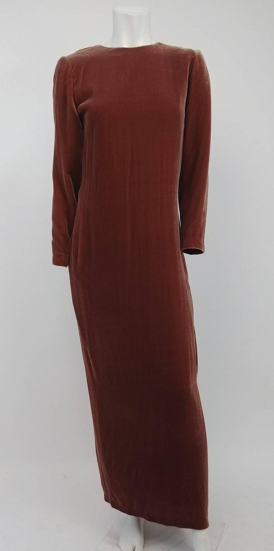 80s Cognac Velvet Draped Evening Dress. Simple velvet ankle-length dress with beautiful draped back detail.