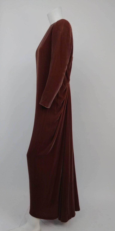 Brown 80s Oscar de la Renta Cognac Velvet Draped Evening Dress For Sale