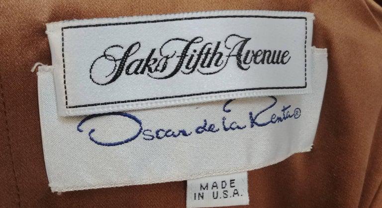 Women's 80s Oscar de la Renta Cognac Velvet Draped Evening Dress For Sale