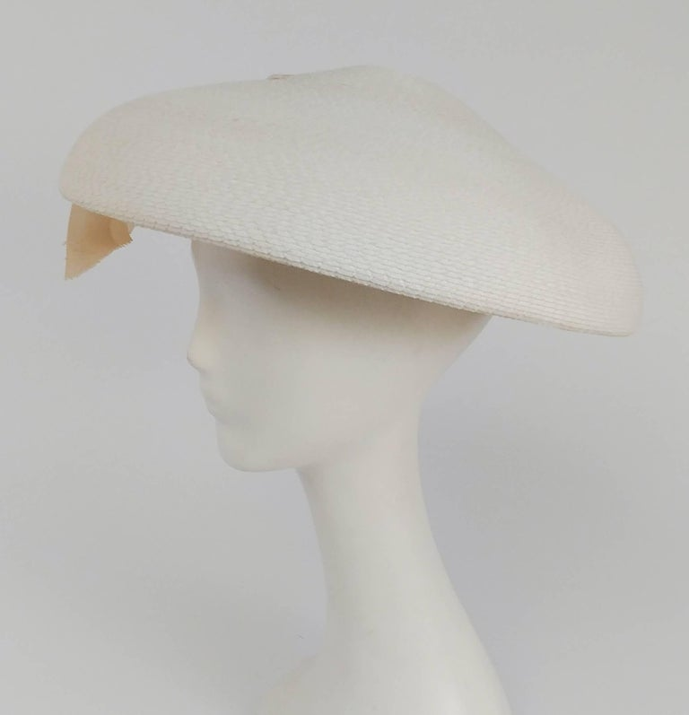 Gray 1950s New Look White Saucer Hat