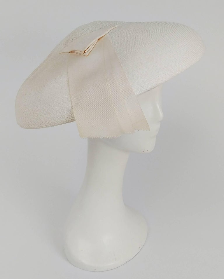 Women's 1950s New Look White Saucer Hat