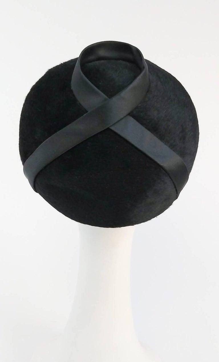 Women's 1960s Black Hat w/ Satin Ribbon For Sale