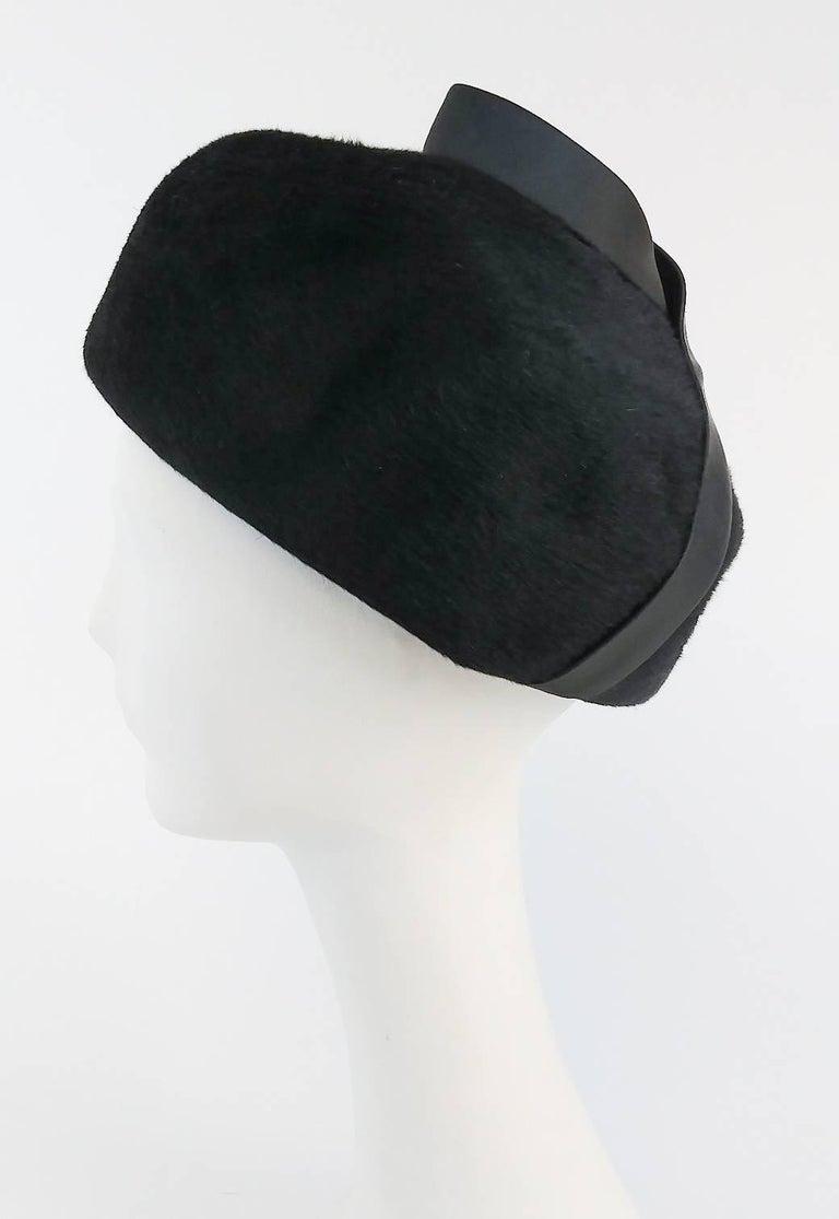 1960s Black Hat w/ Satin Ribbon. Fur felt.