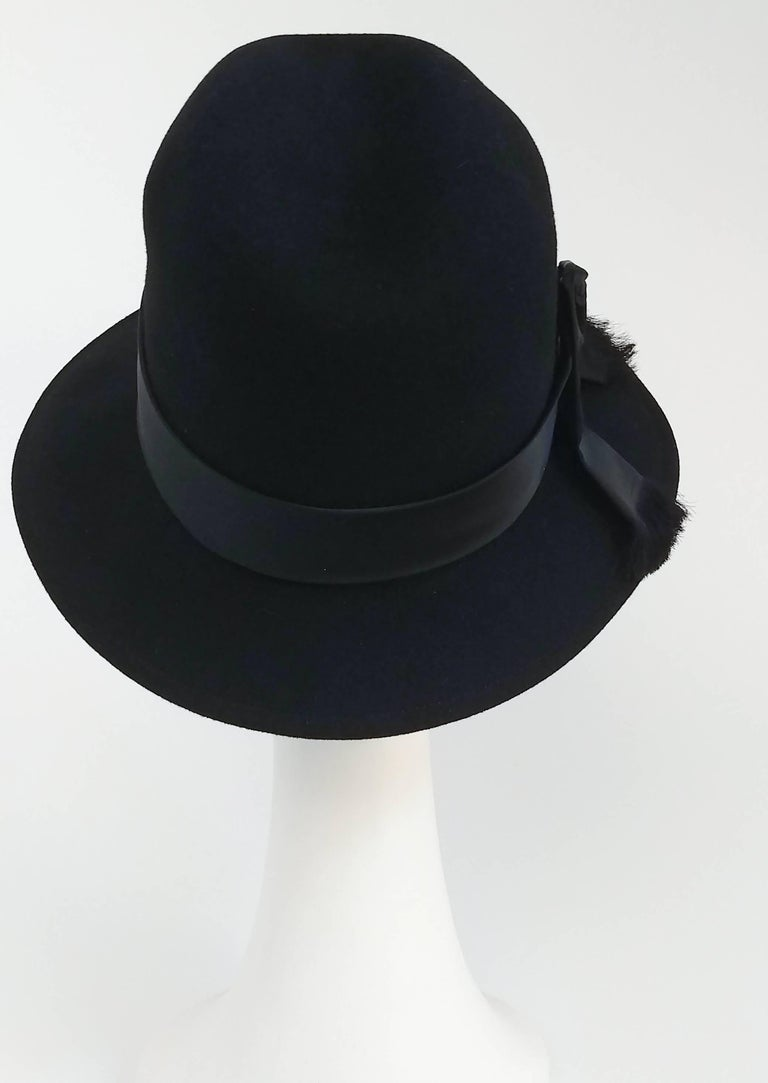 6cb102a53eb Women s 1960s Mr. John Black Fur Felt Fedora Hat For Sale
