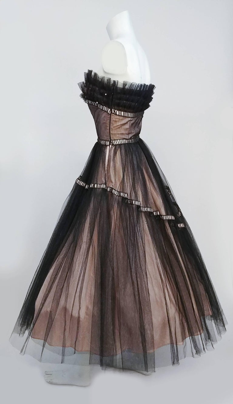 1950s Emma Domb Black and Pink Tulle Party Dress In Excellent Condition For Sale In San Francisco, CA