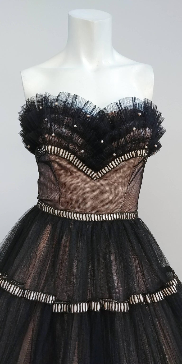 Women's 1950s Emma Domb Black and Pink Tulle Party Dress For Sale