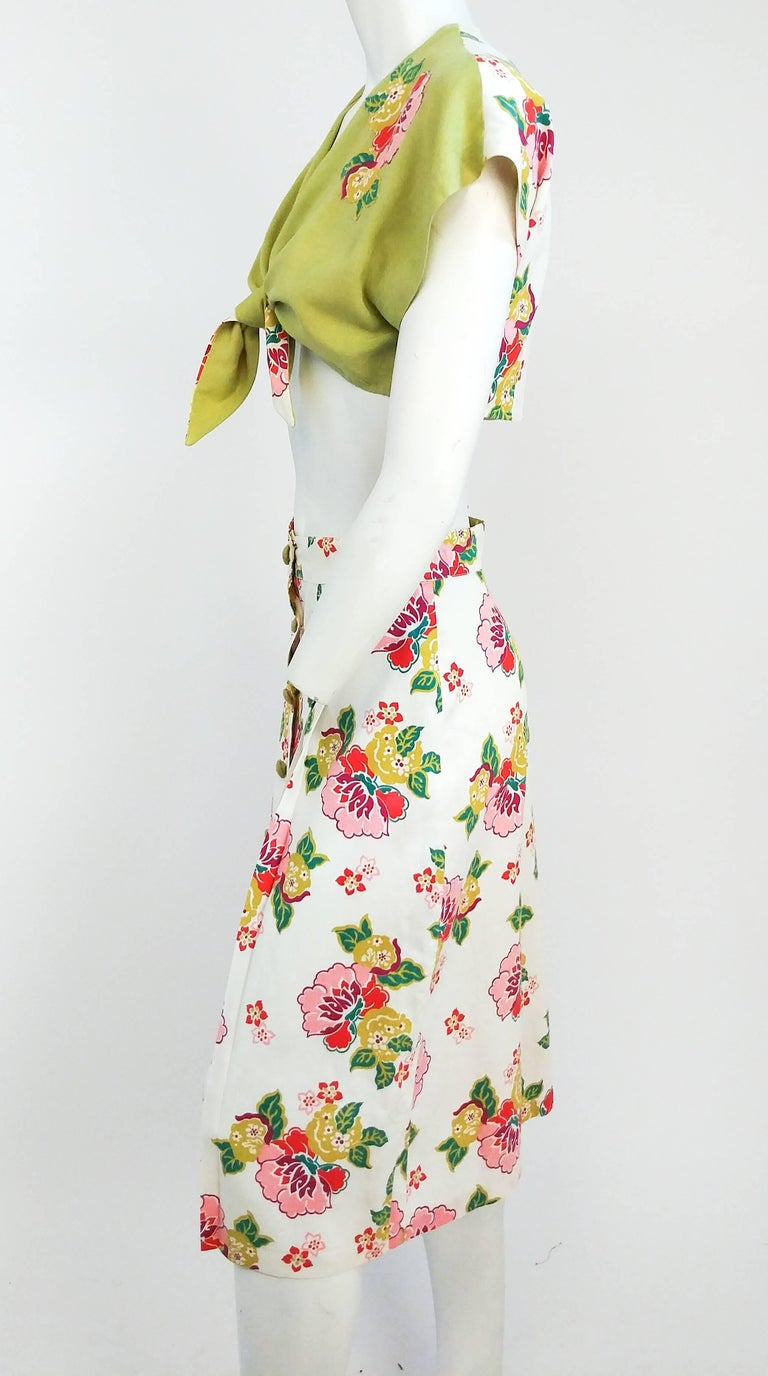 1950s Floral Two Piece Bolero and Skirt Set 3