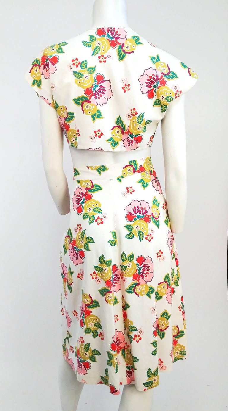 1950s Floral Two Piece Bolero and Skirt Set 4