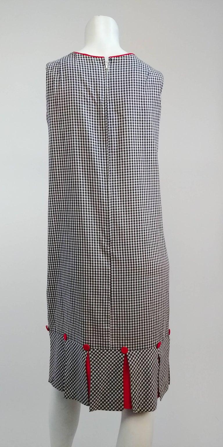 Gray 1960s Black & White Gingham Drop Waist Dress For Sale