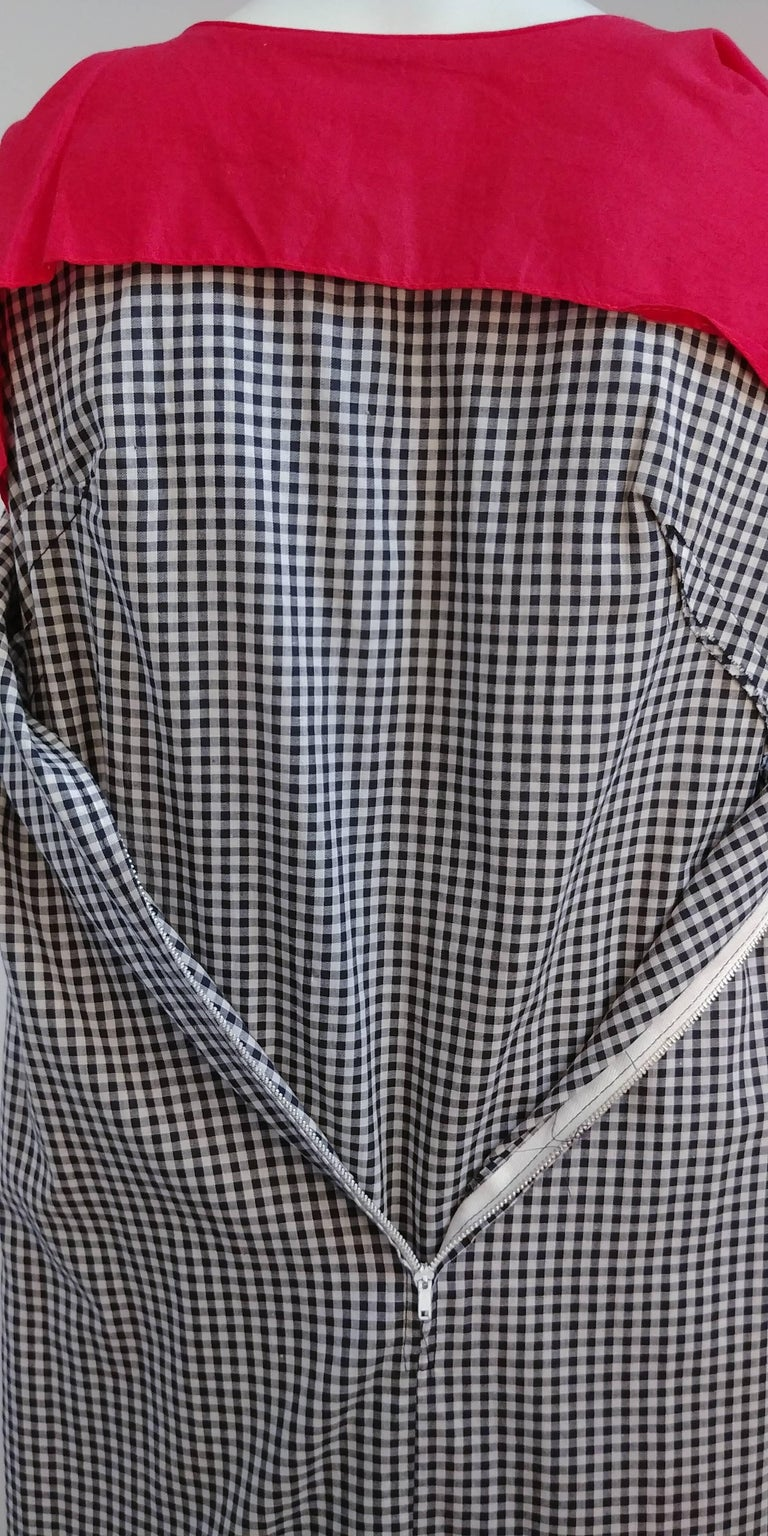 1960s Black & White Gingham Drop Waist Dress In Excellent Condition For Sale In San Francisco, CA