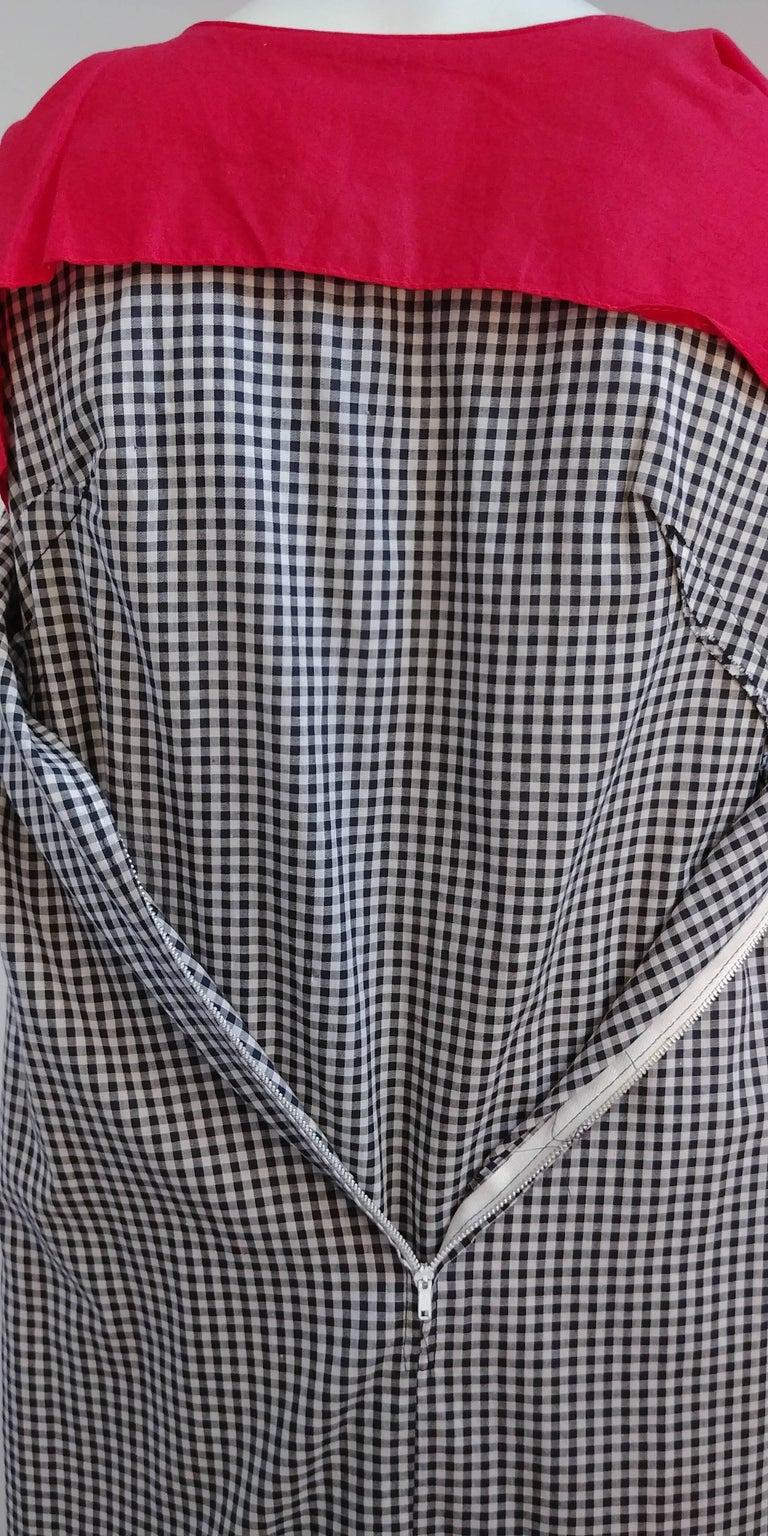 1960s Black & White Gingham Drop Waist Dress 4