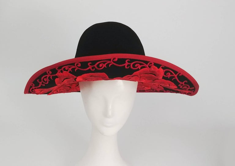 1980s Kokin Black Wide Brim Hat w/ Red Embroidered Roses. Wire brim allows for wearer to position brim easily.
