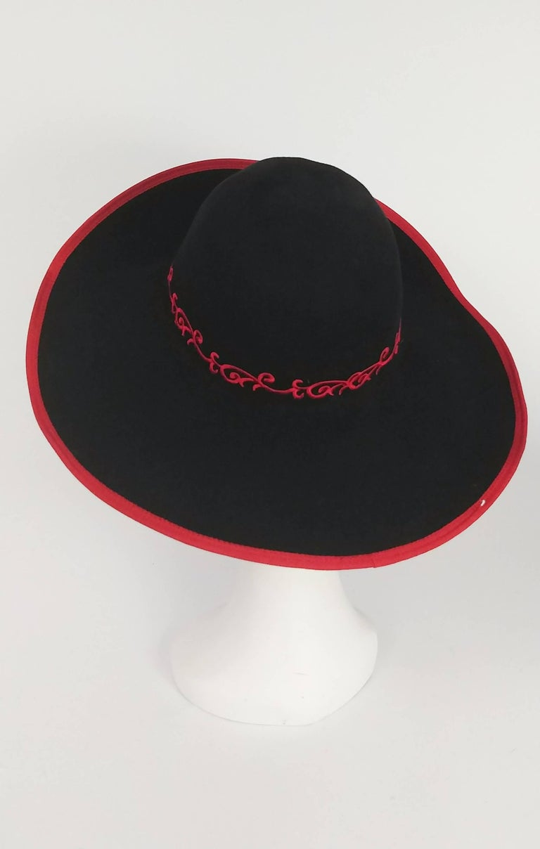 Women's 1980s Kokin Black Wide Brim Hat w/ Red Embroidered Roses For Sale