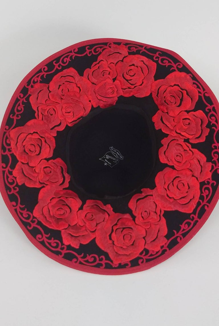 1980s Kokin Black Wide Brim Hat w/ Red Embroidered Roses For Sale 1