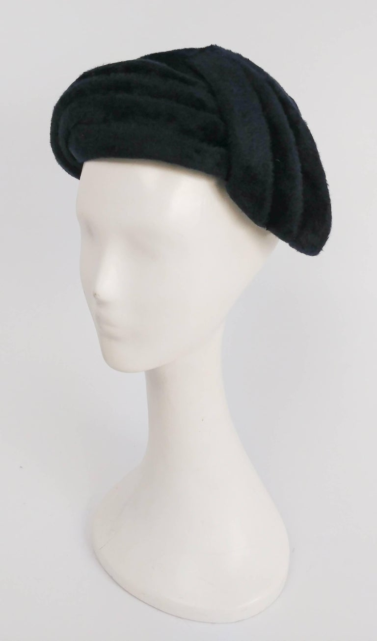1950s Navy Blue Felt Hat. Asymmetrical criss-cross detail on one side of front.