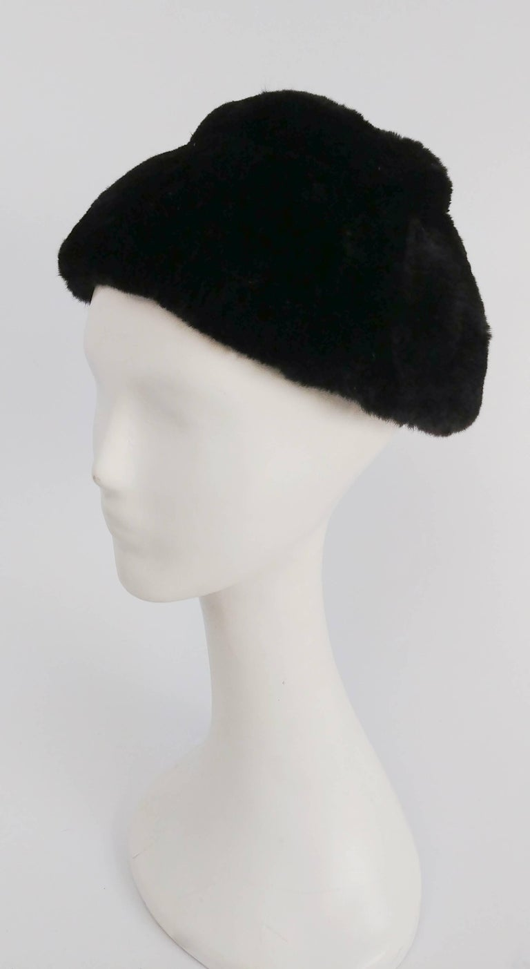 1960s Irene of New York Shorn Mink Hat. Perch on back of head for true 1960s flair.