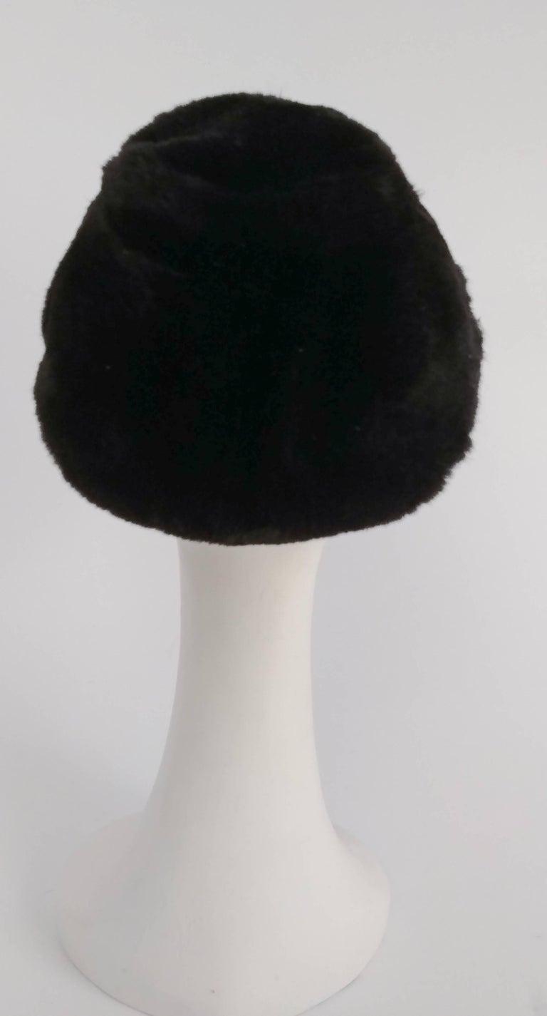 Gray 1960s Irene of New York Shorn Mink Hat For Sale