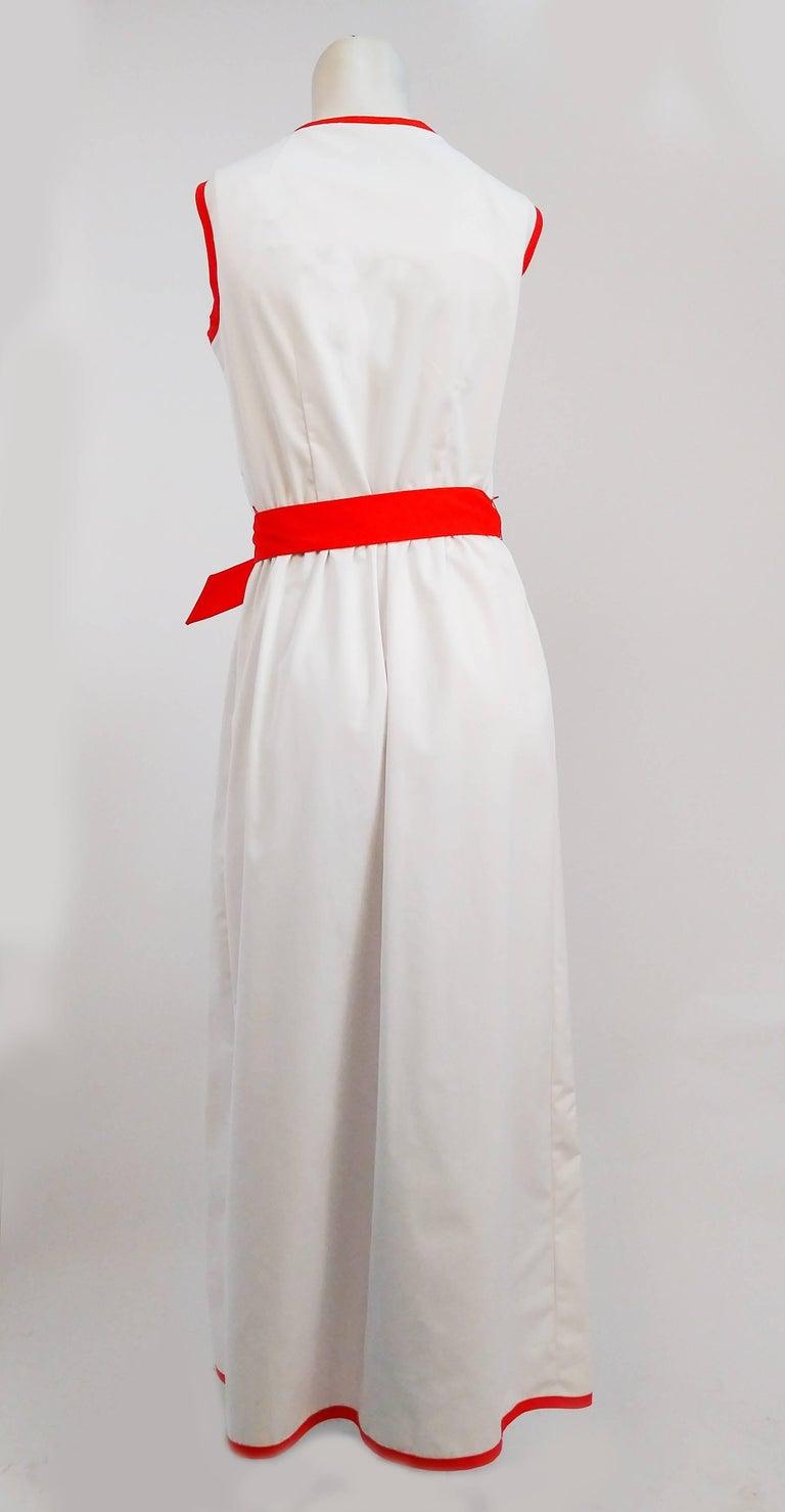 Gray 1970s Cotton Watermelon Wrap Maxi Dress For Sale