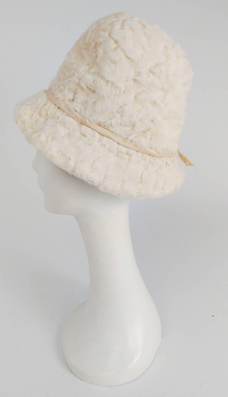 1960s White Persian Lamb Mod Cloche Hat. Fits small!