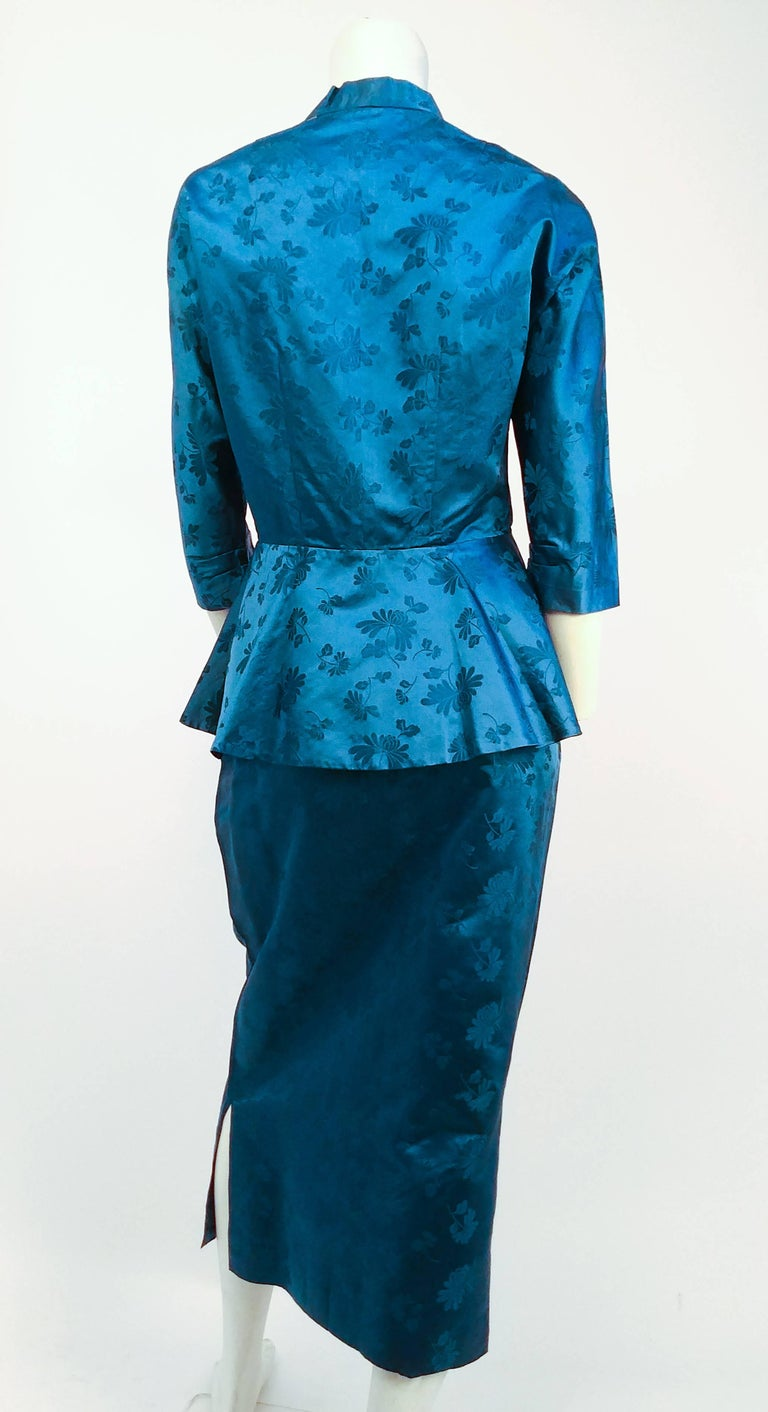 1950s Asian Silk Jacquard Skirt And Jacket Suit Set For