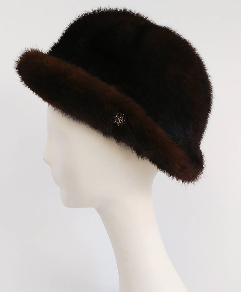 1960s Chocolate Brown Mink Hat In Excellent Condition For Sale In San Francisco, CA