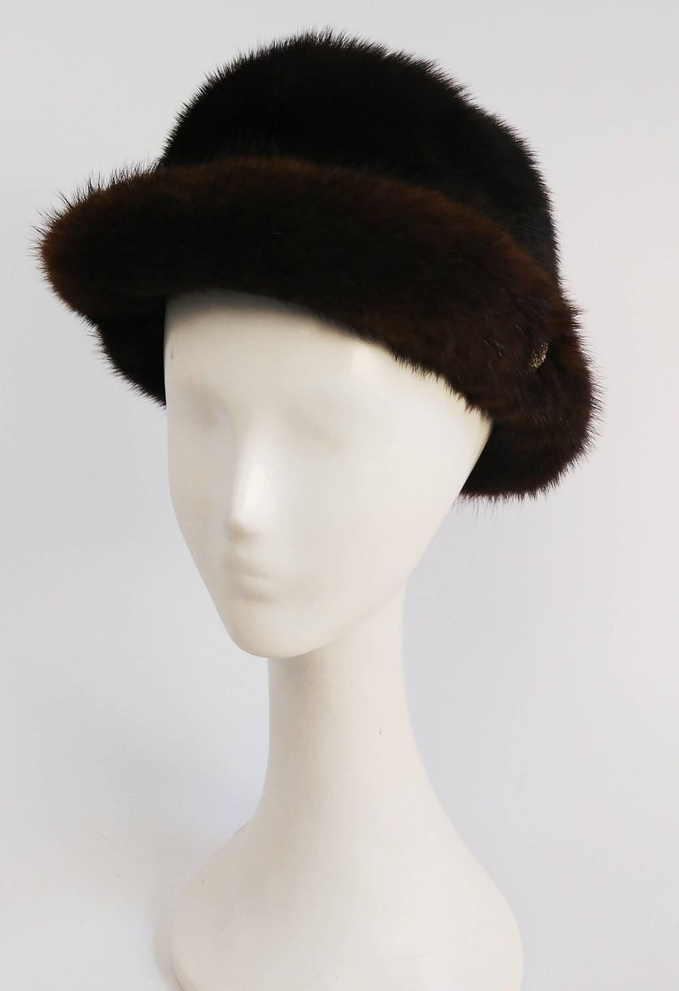 1960s Chocolate Brown Mink Hat. Decorative button sewn on each side to keep brim flipped up.