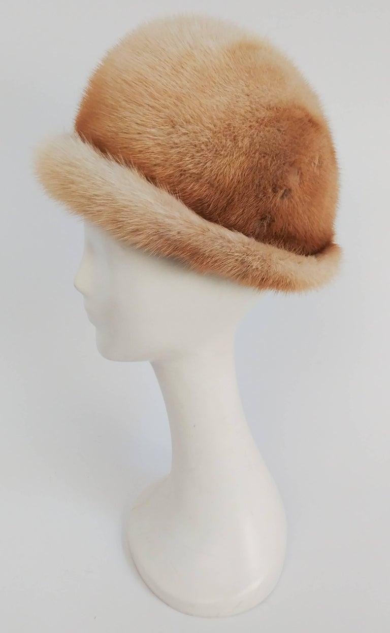 Brown 1960s Blonde Mink Cloche Hat For Sale
