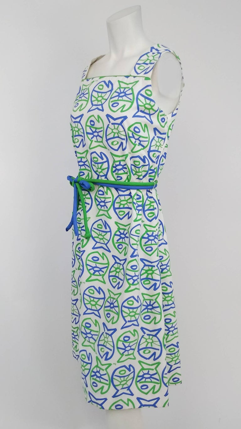 1960s whimsical fish print sun dress for sale at 1stdibs for Fish print dress