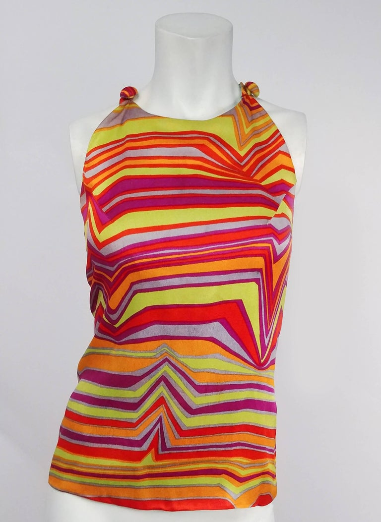 1960s Acid Rainbow Psychadelic Two Piece Set. High waisted wide leg flare pants. Top buttons at shoulders and zips up side.