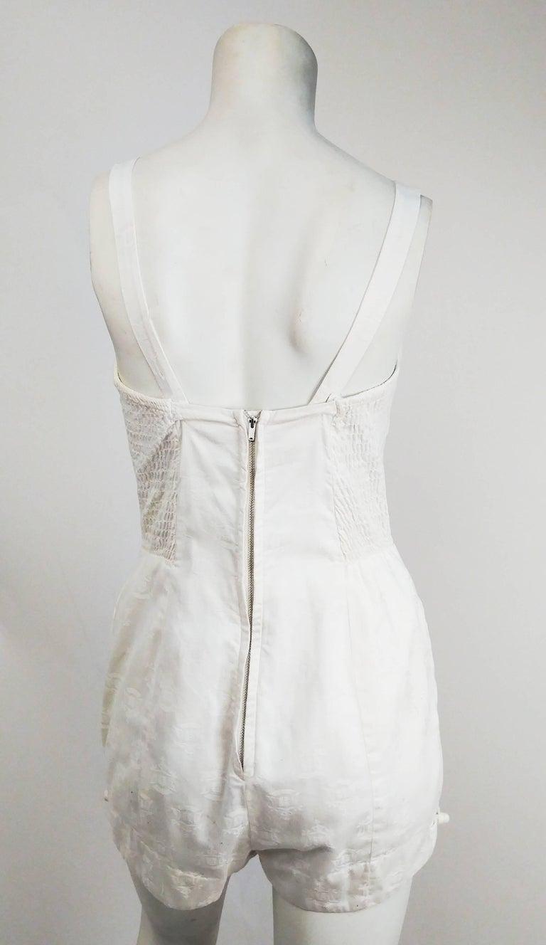 Gray 1950s Kamehameha White Cotton Damask Romper   For Sale
