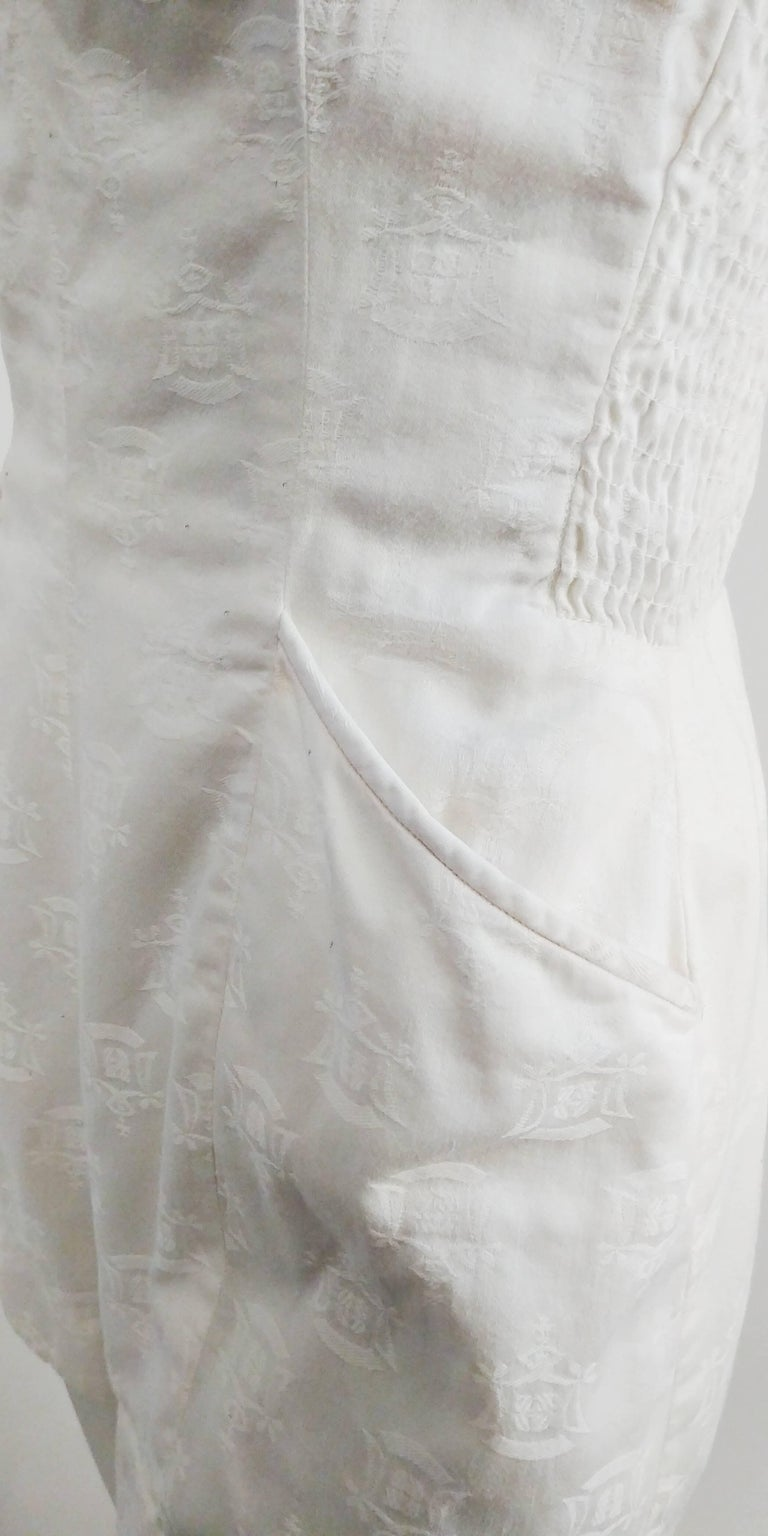 Women's 1950s Kamehameha White Cotton Damask Romper   For Sale