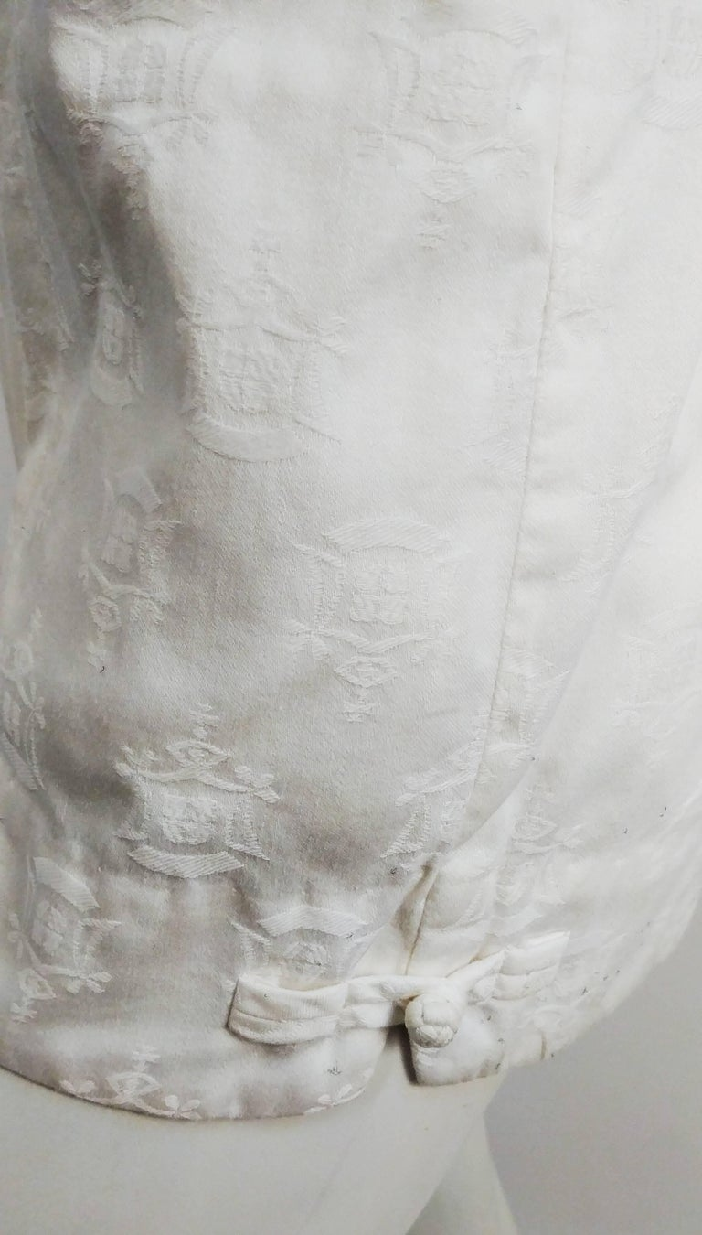 1950s Kamehameha White Cotton Damask Romper   In Excellent Condition For Sale In San Francisco, CA