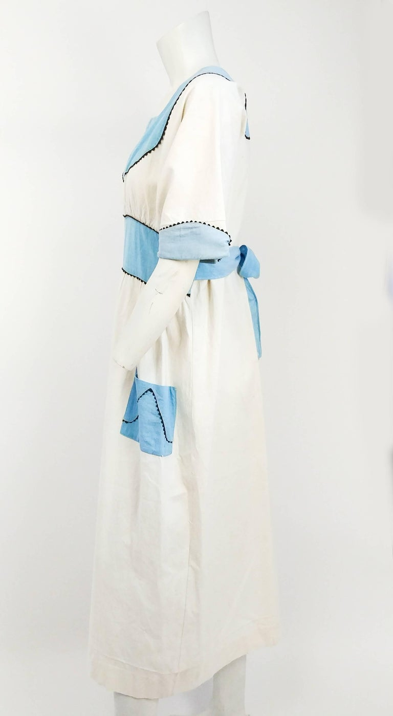 Gray 1920s Blue & White Lined Pinafore Dress For Sale