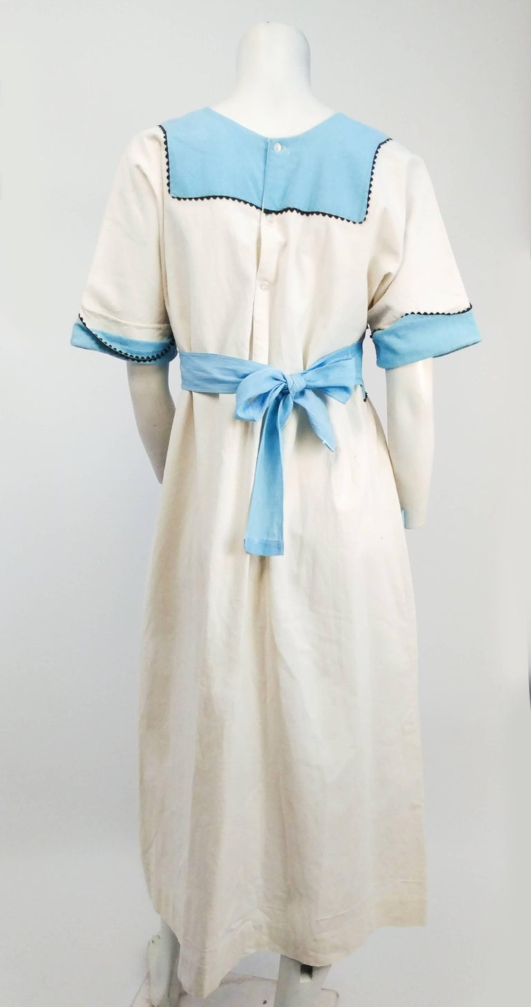 1920s Blue & White Lined Pinafore Dress In Excellent Condition For Sale In San Francisco, CA