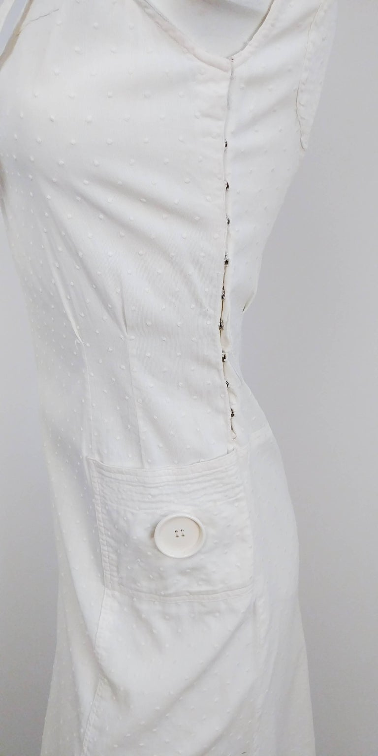 Women's 1920s White Swiss Dot Day Dress w/ Large Button Detail  For Sale