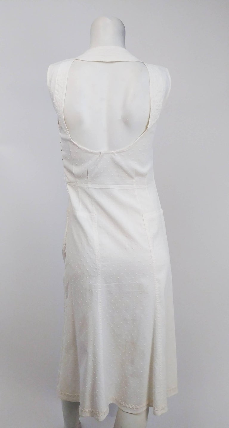 Gray 1920s White Swiss Dot Day Dress w/ Large Button Detail  For Sale