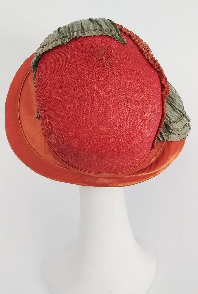 Women's 1920s Burnt Orange & Seafoam Green Wide Brim Cloche Hat